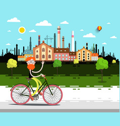 landscape with factory man on bicycle vector image