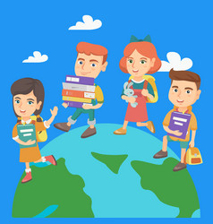 preschool kids walking around the earth planet vector image