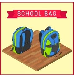 Schoolbag flat isometric Knapsack vector image