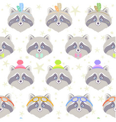 Seamless cute raccoon vector