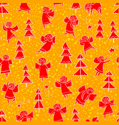 Seamless pattern with doodle dancing angels and vector