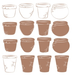 Set of old clay pots for flowers isolated objects vector image vector image