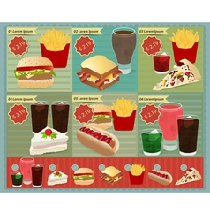 Set of Retro fast food menu vector image vector image