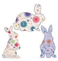 Set of vintage rabbits vector