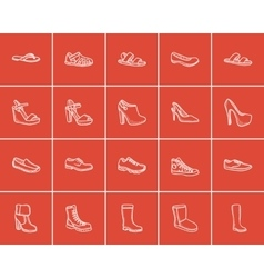 Shoes sketch icon set vector image