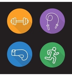 Sport flat linear icons set vector image vector image