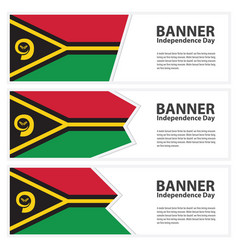 Vanuatu flag banners collection independence day vector
