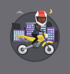 woman riding motorcycle at night vector image