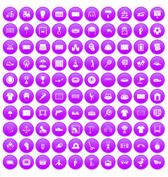 100 playground icons set purple vector