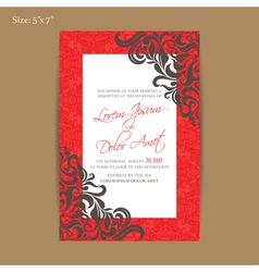 Red wedding invitation card vector