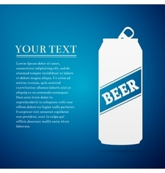 Beer can flat icon on blue background vector