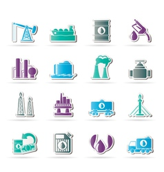 Petrol and oil industry icons vector