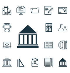 Set of 16 education icons includes college e vector