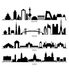 skyline silhouette with city landmarks beijing vector image