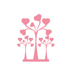 Pink trees heart delicate decorative vector
