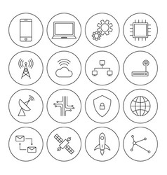Technology digital thin line icon set vector
