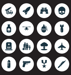 Battle icons set collection of order glass vector