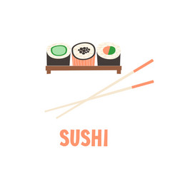 Sushi japanese food sushi roll vector