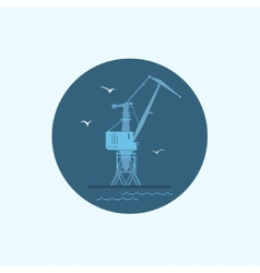 Icon with colored cargo crane vector