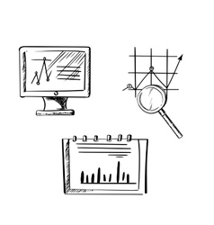 Monitor notebook and business chart sketches vector