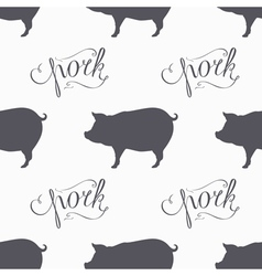 Hipster style pig seamless pattern pork meat hand vector