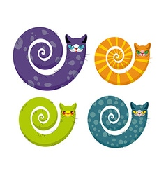 Cat with long tail snake cat set of fantastic vector