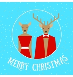 Merry christmas reindeer couple vector image