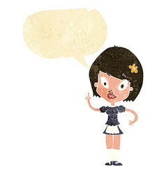 Cartoon pretty maid with speech bubble vector