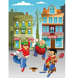 Cartoon street magicians with dancer vector