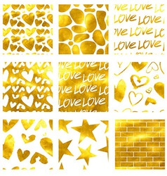 Cards seamless set gold vector