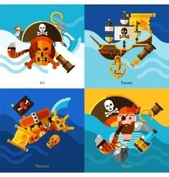Pirates 2x2 design concept set vector