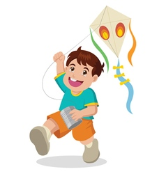 Cartoon of a boy playing with kite vector