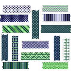 Navy Green Washi Tape Graphics set vector image