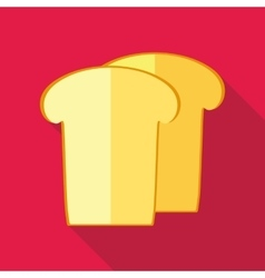 Piece of white bread icon flat style vector