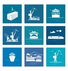 Set of marine cargo icons vector