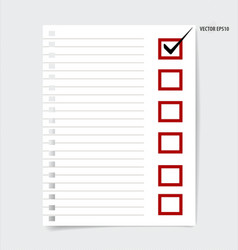 A checklist with black marker and red checked vector