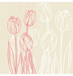 Abstract floral with tulips on beige background vector image
