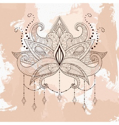 Boho ornamental lotus flower henna tattoo design vector