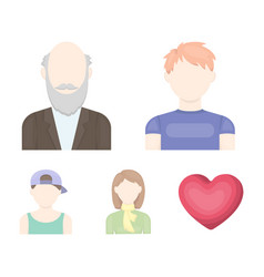 Boy in a cap redheaded teenager grandfather with vector