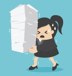 business woman holding a lot of documents vector image