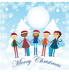 childres over snow hoding hands cartoons vector image vector image