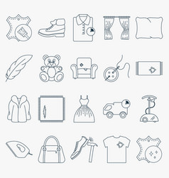 Collection of outline dry cleaning icons set of vector