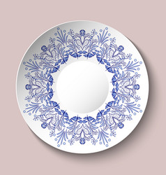 Decorative plate decorated with blue ethnic vector