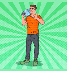 Deliveryman holding water jug pop art vector