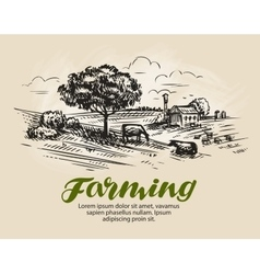 Farm sketch rural landscape agriculture farming vector