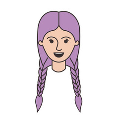 female face with braided hair in colorful vector image