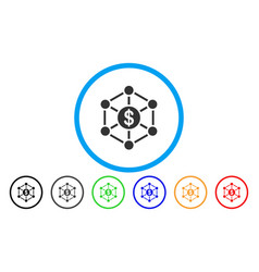 financial network rounded icon vector image vector image