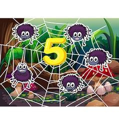Five spiders around number 5 vector