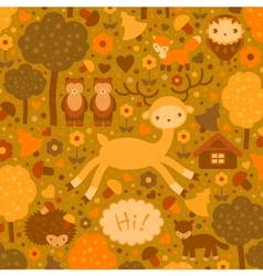 funny card with wild animals vector image