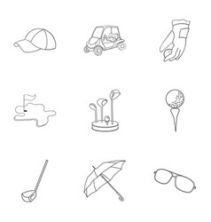 Golf club set icons in outline style big vector
